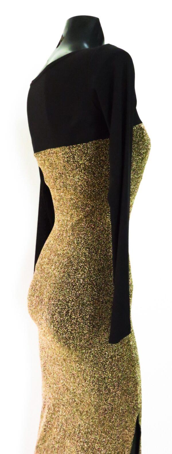 abito lungo scollatura a cuore animalier gold