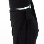 Completo moda mare gonna pareo corta e top coppe marilyn in optical